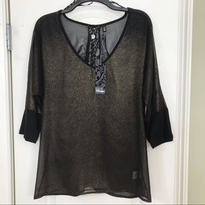 BKE Boutique Sheer Top with Black Lace Back